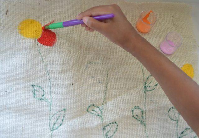 burlap art for kids
