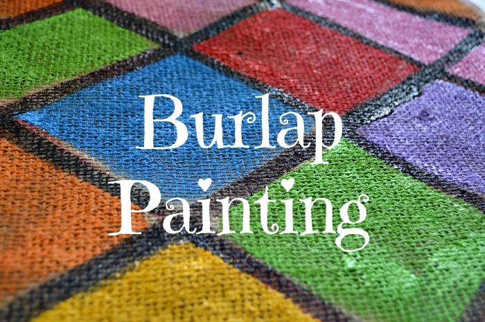 burlap cloth painting