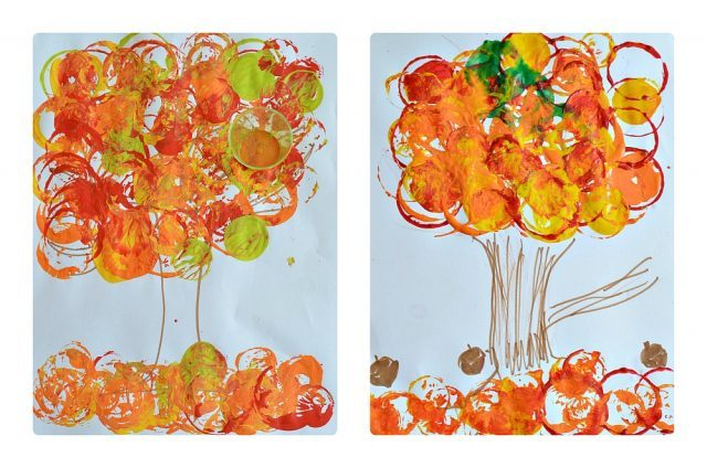 fall trees kids art