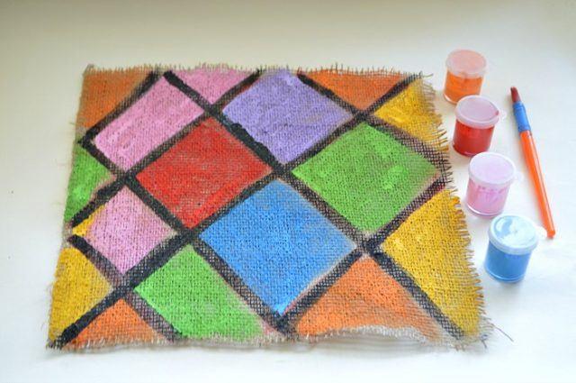 finished painting on burlap
