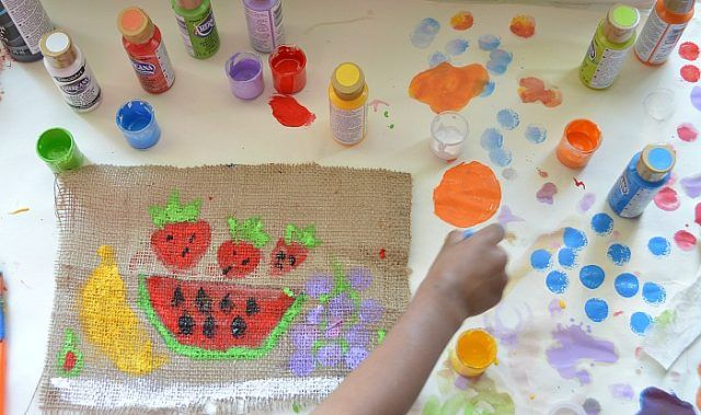 how to paint on burlap