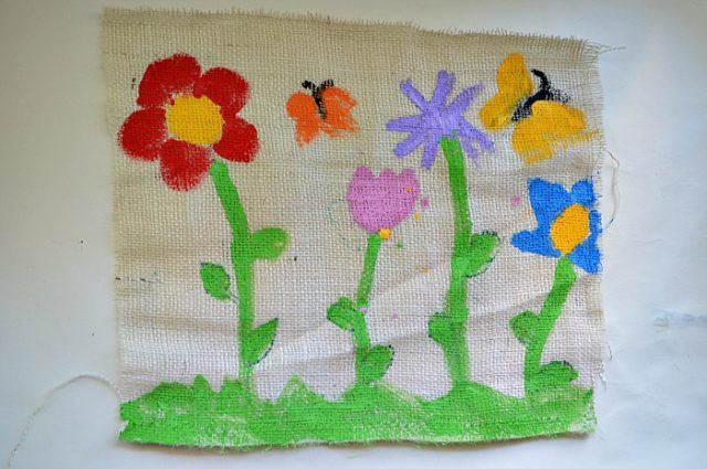 kids art painting on burlap cloth