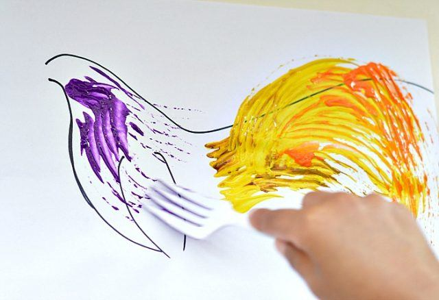 kids art with forks