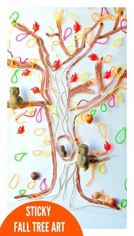 sticky fall tree art toddlers