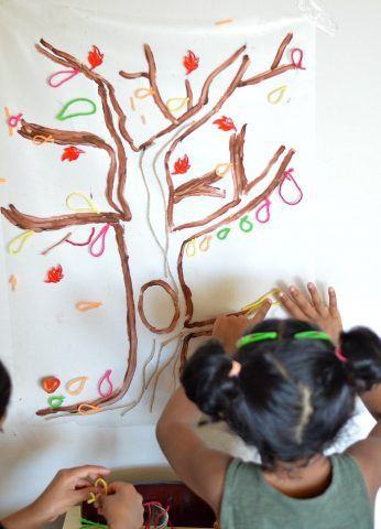 sticky tree art project for toddlers