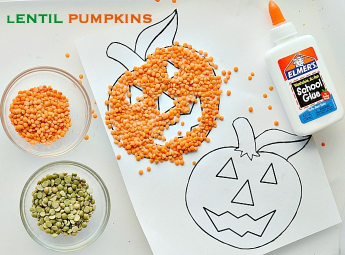 lentil-pumpkins-craft-for-kids