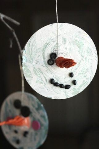 Recycled Christmas Ornaments - snowmen CDs