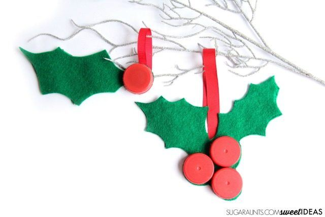 Recycled Christmas Ornaments - holly bottlecaps