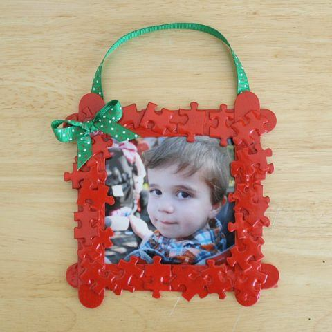 Recycled Christmas Ornaments - puzzle piece frame