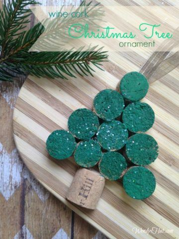 Recycled Christmas Ornaments - cork tree
