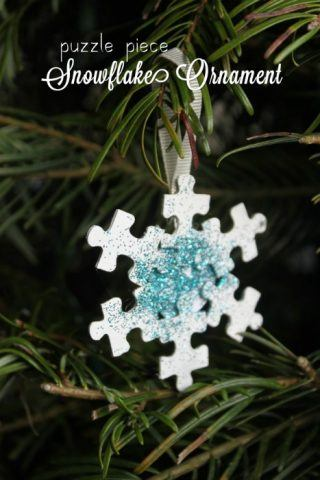 Recycled Christmas Ornaments - puzzle piece snowflake