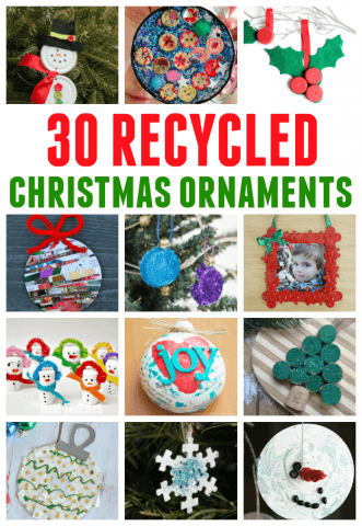 30 Recycled Christmas Ornaments the kids will love