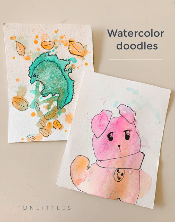 dog and hedgehog with watercolors for kids