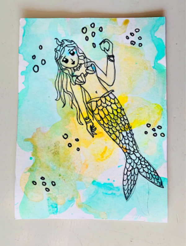 mermaid-with-watercolor-art-project