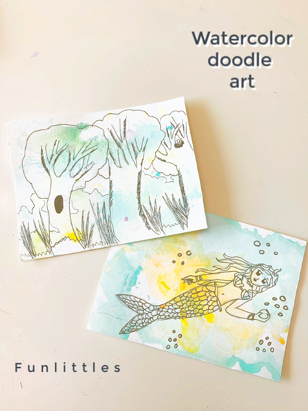 watercolor art projects for kids with doodles