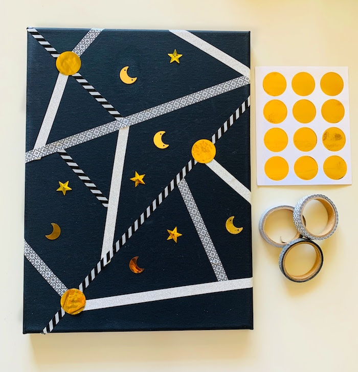 night sky kids activities with canvas and washi tape 5