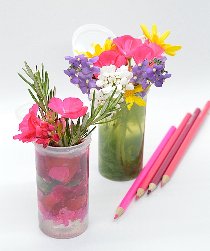 pink purple flower vases